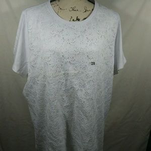 White lacy front blouse